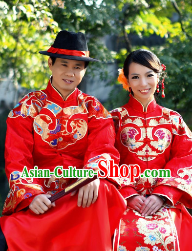 Happy Marriage Wedding Blouse, Skirt and Hat for Men and Women