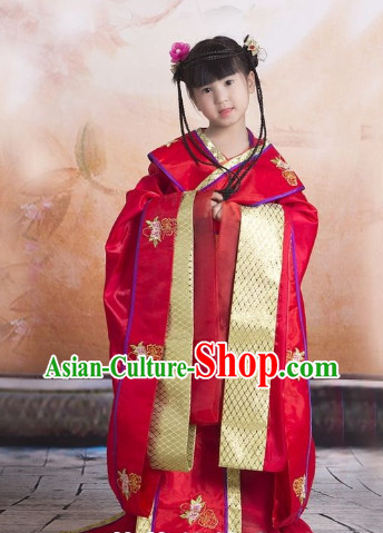 Long Tradil Tang Dynasty Princess Red Garment for Kids