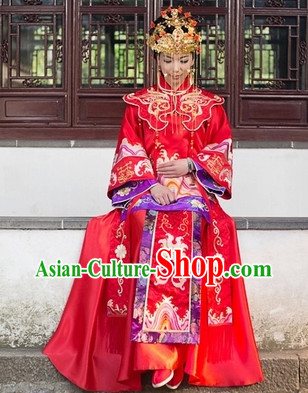 Traditional Chinese Red Phoenix Brides Wedding Blouse, Skirt and Phoenix Coronet
