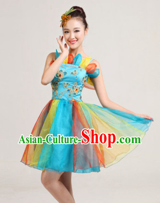 Traditional Chinese Short Skirt Dancing Costumes