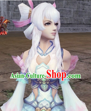 Ancient Chinese Style White Swordswoman Wig