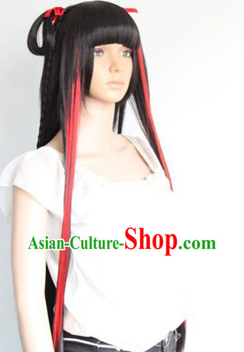 Ancient Chinese Style Cosplay Black and Red Long Wig for Women