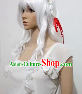 Chinese Cosplay White Long Curly Hair Wig