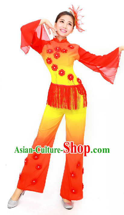 University Student Yangge Dancing Dresses for Women