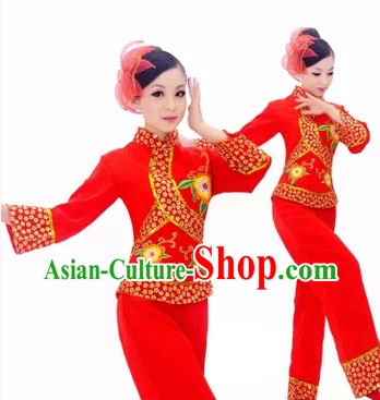 Chinese Folk Yangge Dancing Costume for Girls