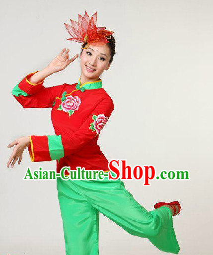 Chinese Folk Yangge Dancing Blouse and Trousers for Women