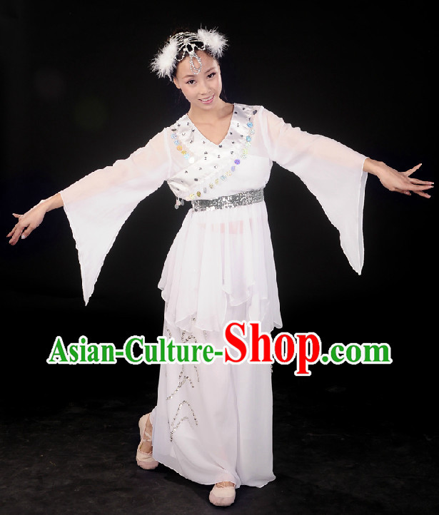 Professional Stage Performance White Fan Dancing Costumes Complete Set