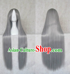 Ancient Chinese Long Grey Wig for Men