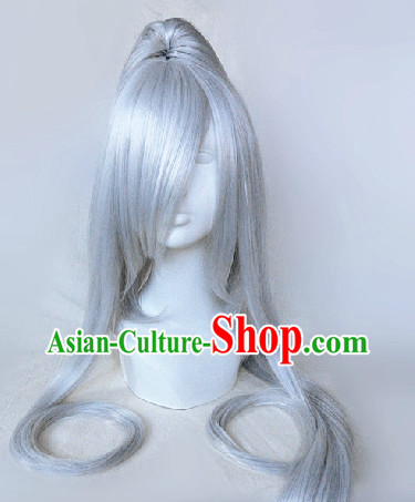 Ancient Chinese Long Grey Hair Wig for Men