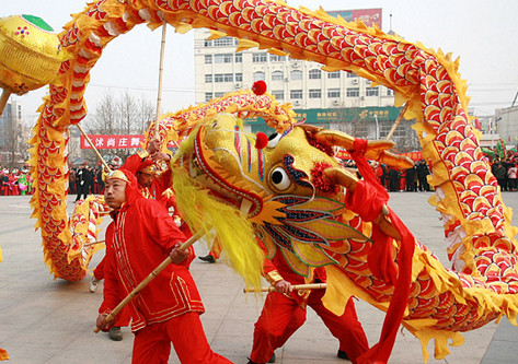 Lucky Celebration Red and Yellow Dragon Dancing Costume Complete Set