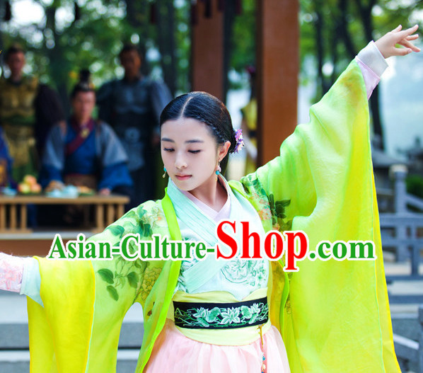 Ancient Chinese Lanling Princess Clothes and Hair Accessories Complete Set