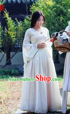 Ancient Chinese Wide Sleeves White Princess Costumes Complete Set