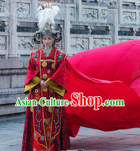 Ancient Chinese Empress Red Wedding Costumes Complete Set
