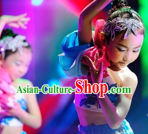 Traditional Chinese One Long Sleeve Dance Costumes and Headdress for Kids