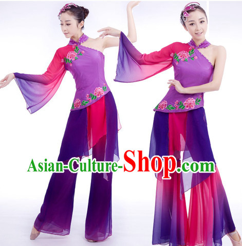 Traditional Chinese Classical Group Dancing Suit Complete Set for Women
