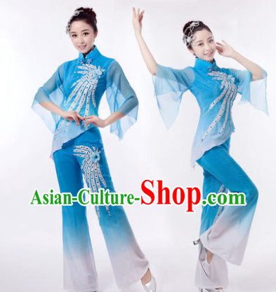 Traditional Chinese Phoenix Dancing Clothes and Hair Accessories
