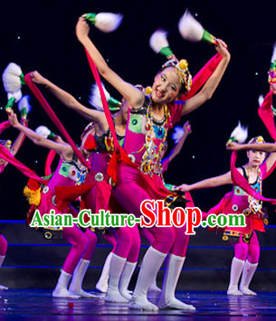 Traditional Chinese Minority Ethnic Dancing Outfit for Kids