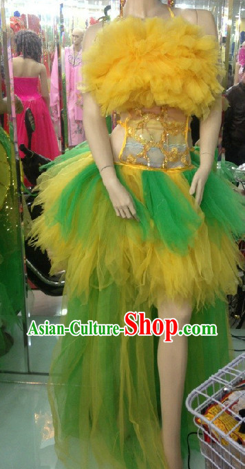 Professional Custom Make Stage Performance Dancing Costumes and Hair Accessories Full Set for Women