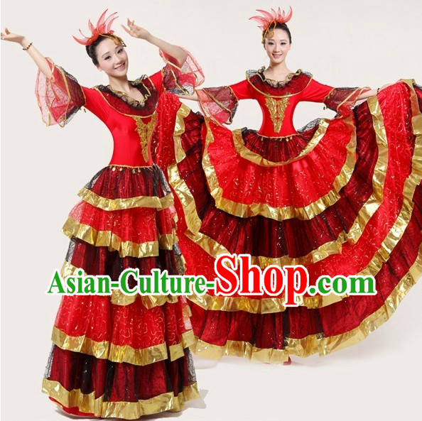Professional Custom Make Stage Performance Spanish Dancing Costumes and Hair Accessories