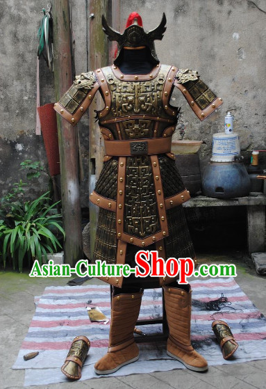 Ancient Chinese General Replica Armor Dresses and Helmet Complete Set