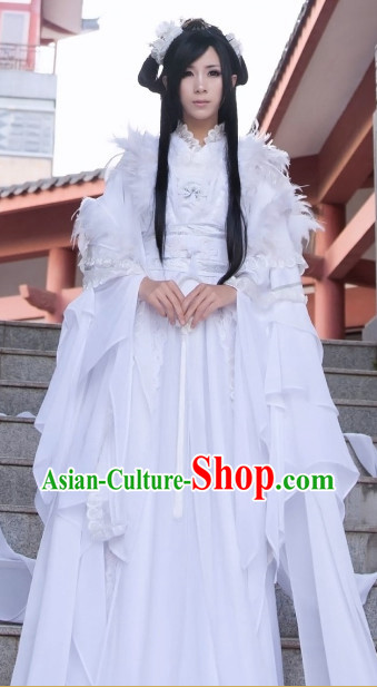 Ancient Chinese White Feather Angel Guzhuang Hanfu Costumes and Hair Accessories Complete Set