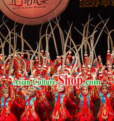 Qin Yuan Chun Beijing Opera Stage Performance Dance Costumes and Long Feather Hat