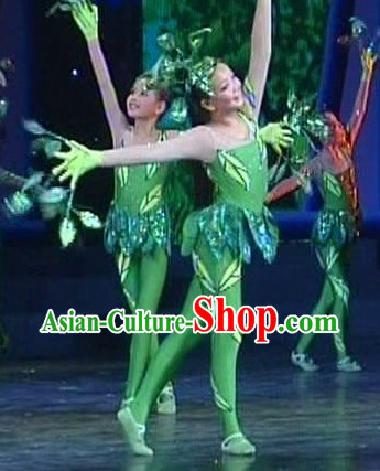 Green Leaf Dance Costumes and Headwear Complete Set