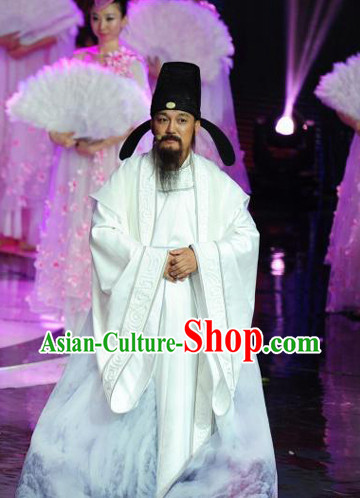White Tang Dynasty Poet Clothes and Hat