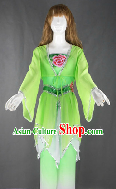 Green Fan Dancing Costumes Complete Set