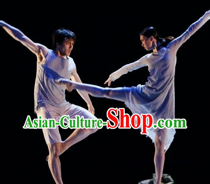 Adult Size Grey Color Modern Dance Costumes Two Complete Sets