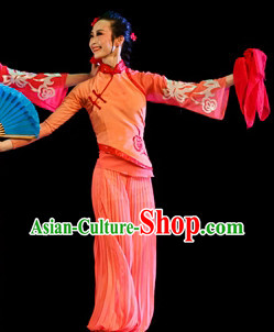 Orange Color Mandarin Handkerchief Female Dance Costumes and Handkerchief