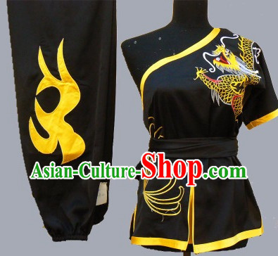 Top Short Sleeves Taiji Wushu Students Dragon Embroidery Uniform