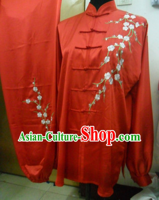 Top Silk Red Plum Blossom Spirit Kung Fu Outfit