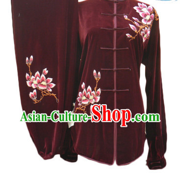 Professional Velvet Long Sleeves Magnolia Embroidery Suit