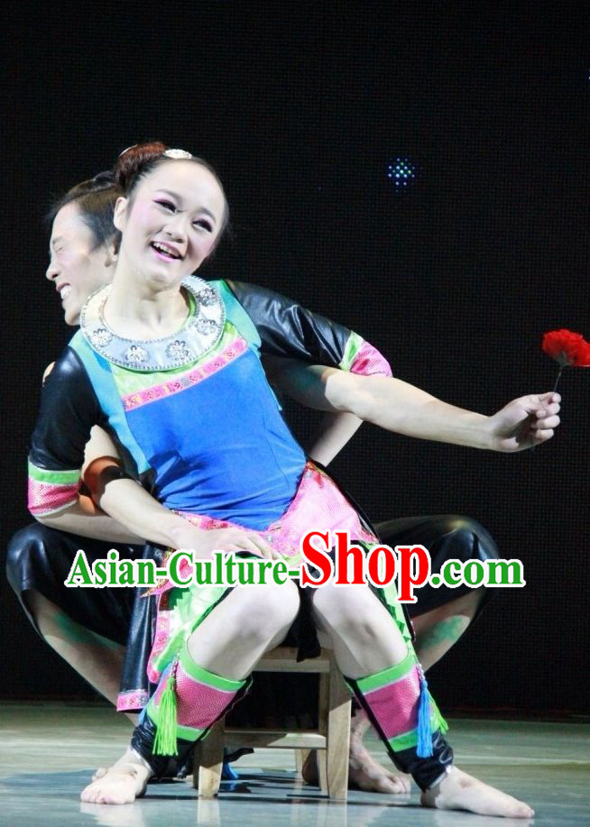 Folk China Ethnic Village Dance Costumes and Headwear Complete Set for Women