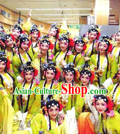 Beijing Opera Style Chinese Classic Dancing Costumes and Headdress Complete Set