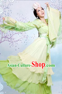 Ancient Chinese Green Princess Clothes and Hair Accessories Complete Set