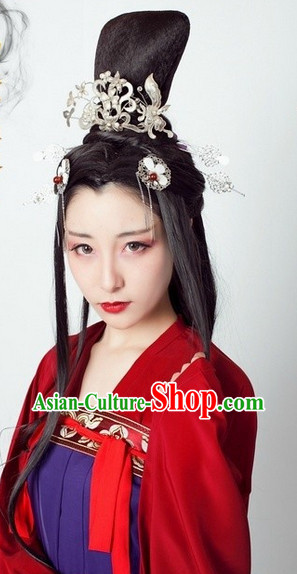 Ancient Chinese Female Long Wig and Hair Accessories for Women