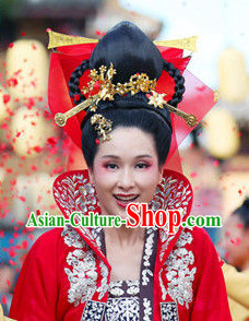 Traditional Chinese Wedding Brides Wig and Hair Accessories