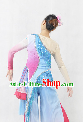 Professional Stage Performance Fan or Handkerchief Dancing Costumes and Headwear