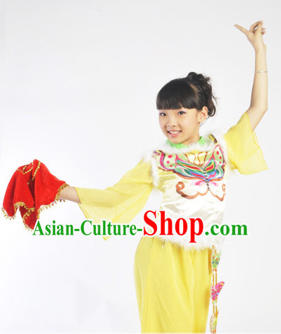 Chinese Lunar New Year Folk Fan Group Dancing Outfit for Kids