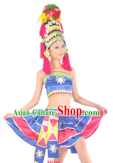 Chinese Hani Minority Female Dresses and Hat