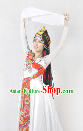 Chinese Tibetan Minority Long Sleeves Female Clothing and Hat