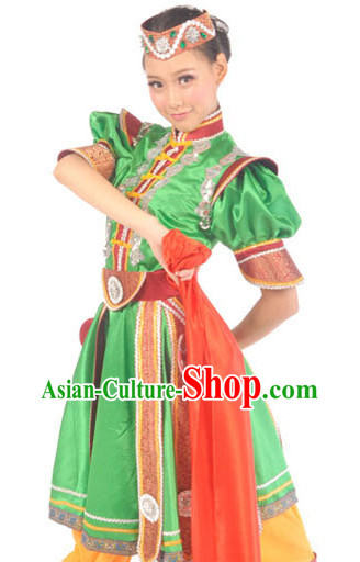 Chinese Mongolian Minority Female Dancing Outfit and Hat