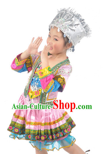 Chinese Miao Minority Dancing Outfit and Hat for Kids