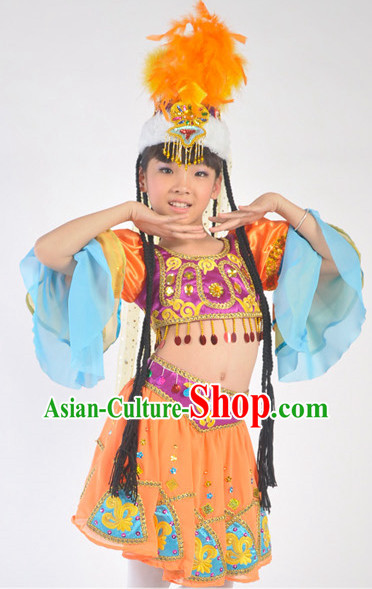 Xinjiang Ethnic Clothes and Hat for Children