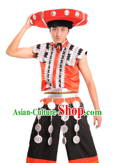 Chinese Tu Jia Minority Clothes and Hat for Men