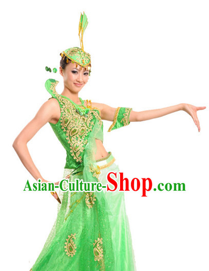 Chinese Classical Dai Nationality Peacock Dancing Costumes and Headdress for Women