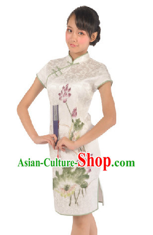 Traditional Lotus Cheongsam Dancing Dress for Women