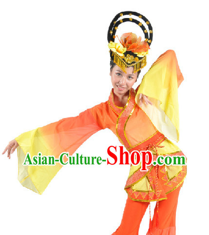 Traditional Han Dynasty Dancing Costume and Headdress for Women